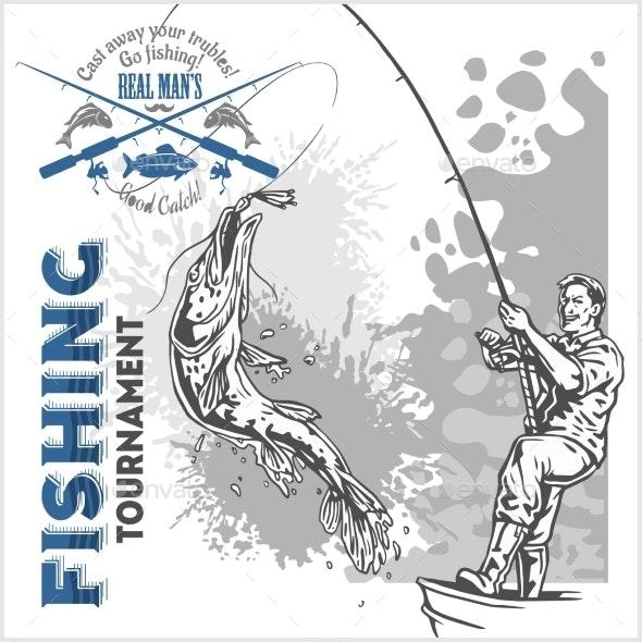 Fisherman with a Fishing Rod - Decorative Symbols Decorative