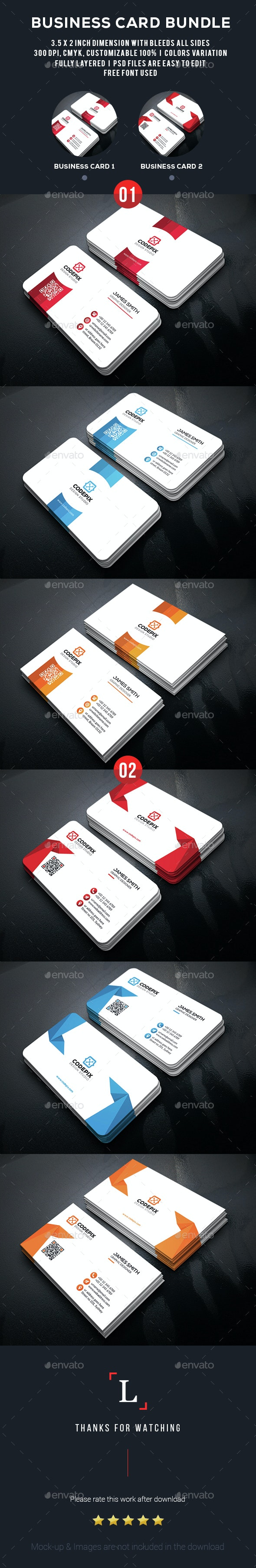Clean Business Card Bundle - Business Cards Print Templates