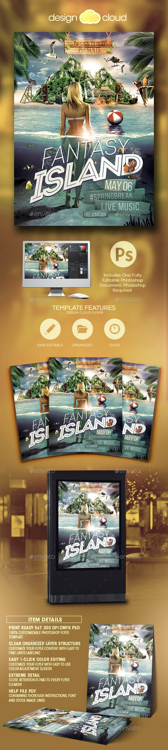 Fantasy Island Flyer Template - Miscellaneous Events