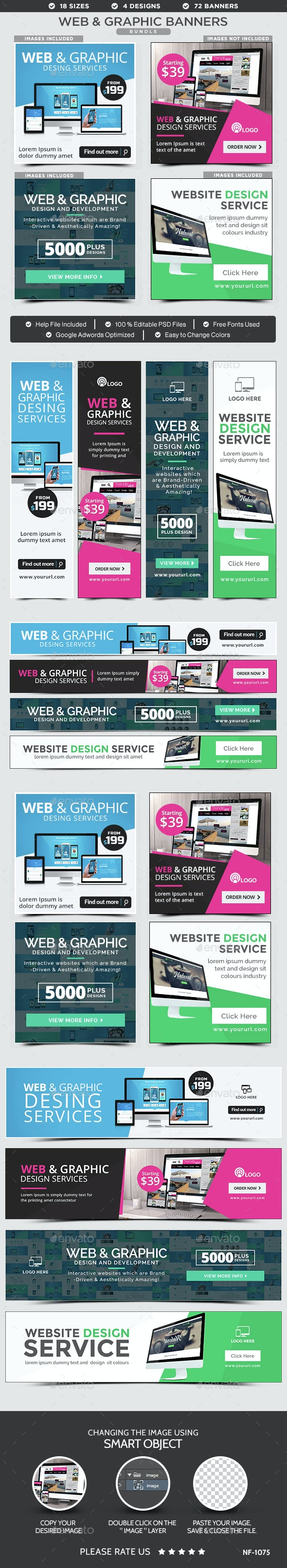 Web & Graphic Design Banners Bundle - 4 Sets - Banners & Ads Web Elements