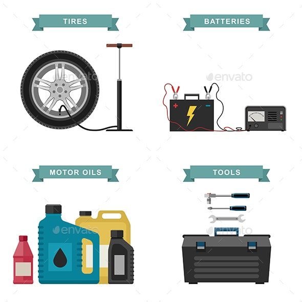 Auto Parts Flat Icons - Man-made Objects Objects