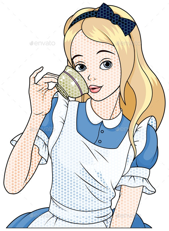 Comic Style Alice Takes Tea Cup - People Characters