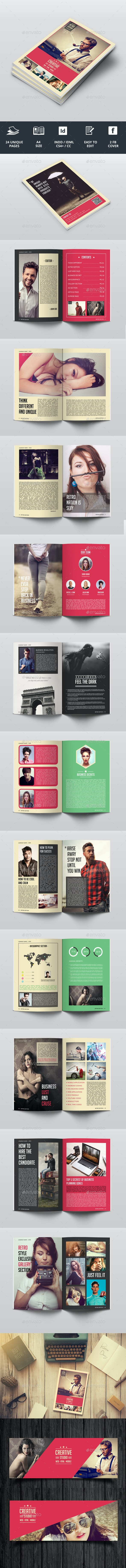 Retro Style Indesign Newsletter - Newsletters Print Templates