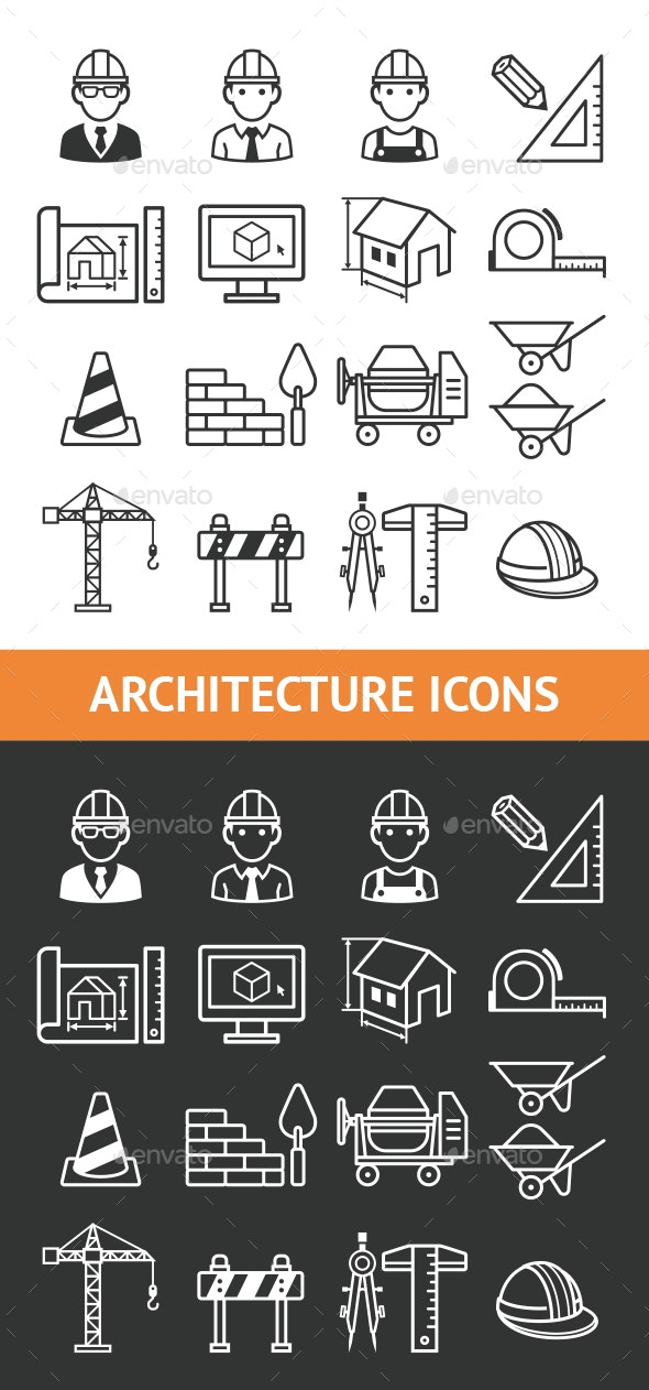 Architecture Construction Building Icon Set. - Icons