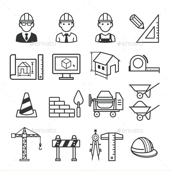 Architecture Construction Building Icon Set.