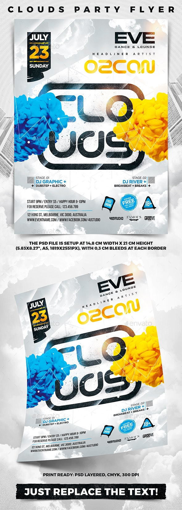 Clouds Party Flyer - Clubs & Parties Events
