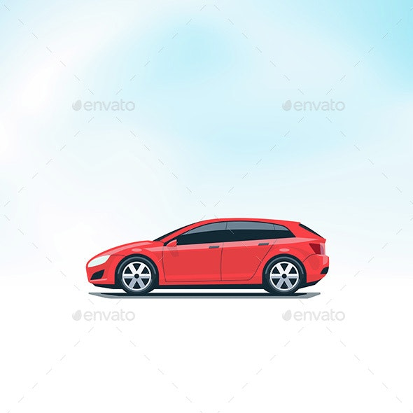 Isolated Red Car Hatchback Side View - Man-made Objects Objects