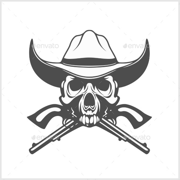 Gangster Skull with Cowboy Hat and Pistols - Decorative Symbols Decorative