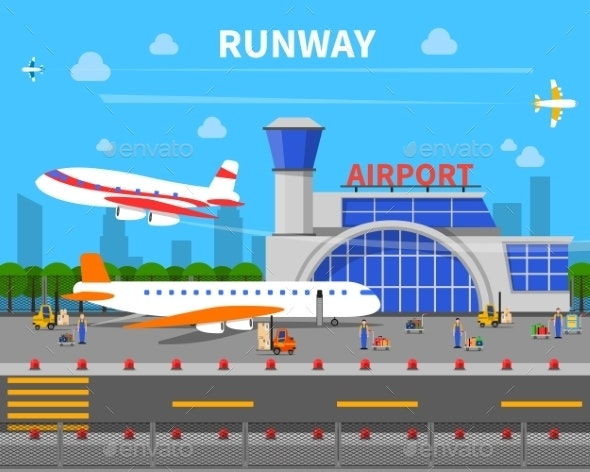 Airport Runway Illustration - Travel Conceptual