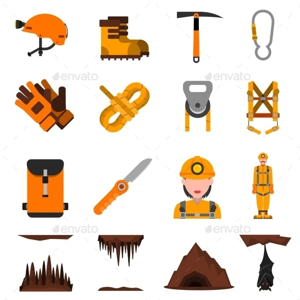 Speleology Flat Icons Set - Objects Icons