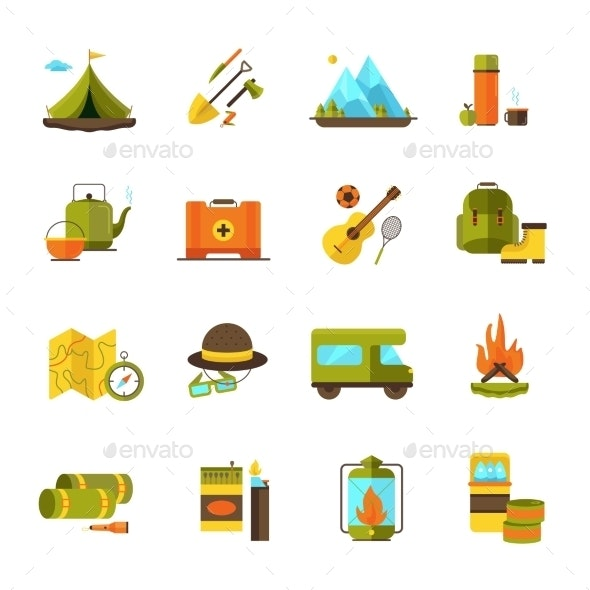 Camping Hiking Adventure Flat Icons Set  - Objects Icons