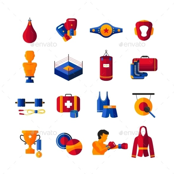 Boxing Flat Icons Collection  - Objects Icons