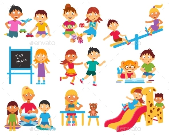 Kindergarten Icons Set - People Characters