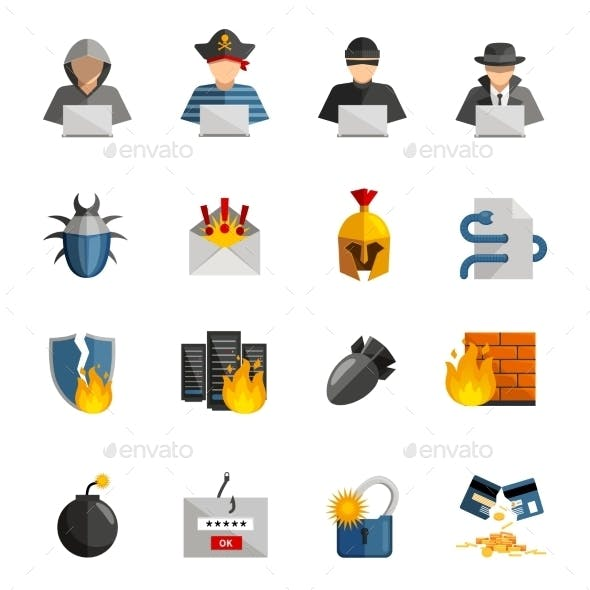 Hacker Flat Color Icons Set