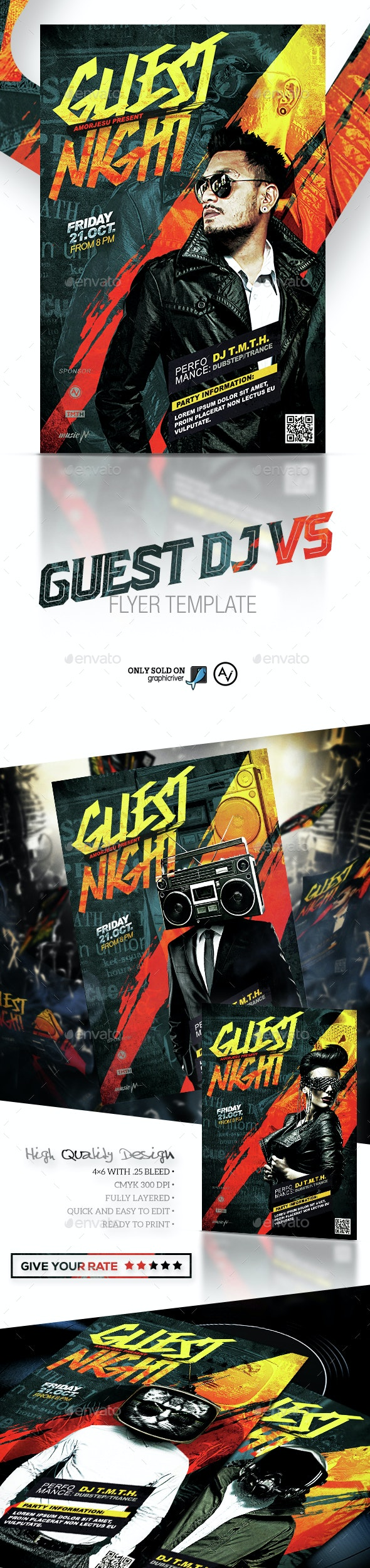 Guest DJ Flyer Template V5 - Clubs & Parties Events