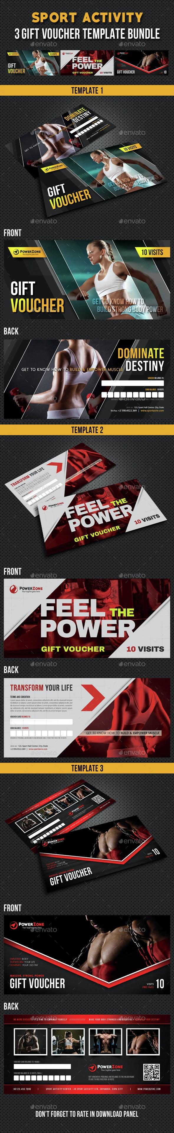 3 in 1 Sport Activity Gift Voucher Bundle 04 - Cards & Invites Print Templates