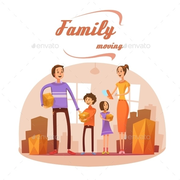 Family Moving in Cartoon Illustration  - People Characters