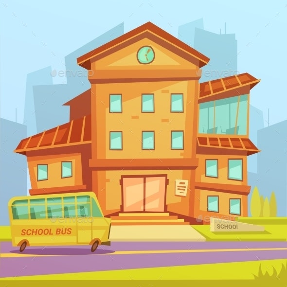 School Cartoon Background - Buildings Objects