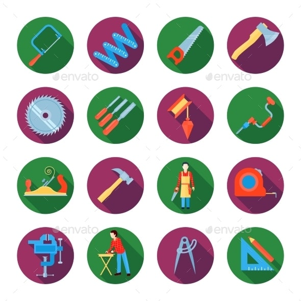 Carpentry Icons Set - Objects Icons