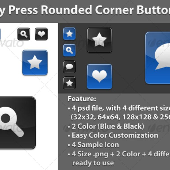 Glossy Press Rounded Corner Button