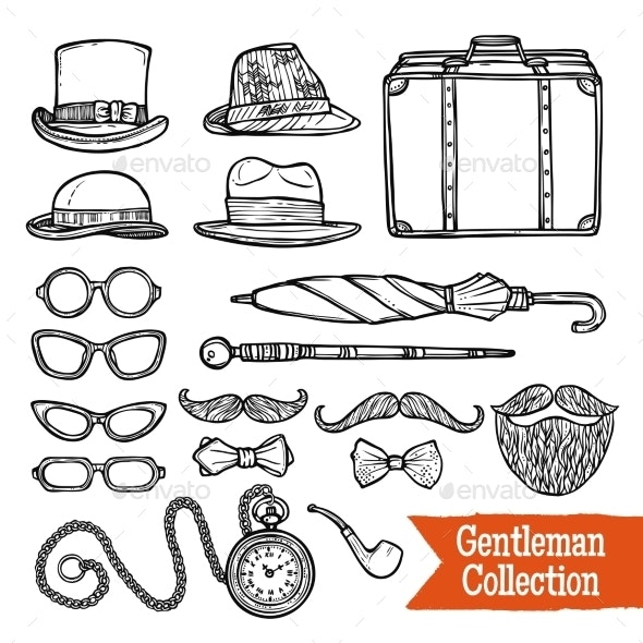 Gentelman Vintage Accessories Doodle Black Set - Decorative Vectors