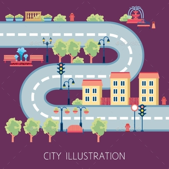 City Street Schema Abstract Flat Banner  - Miscellaneous Vectors