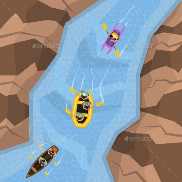 Rafting On River Top View - Sports/Activity Conceptual