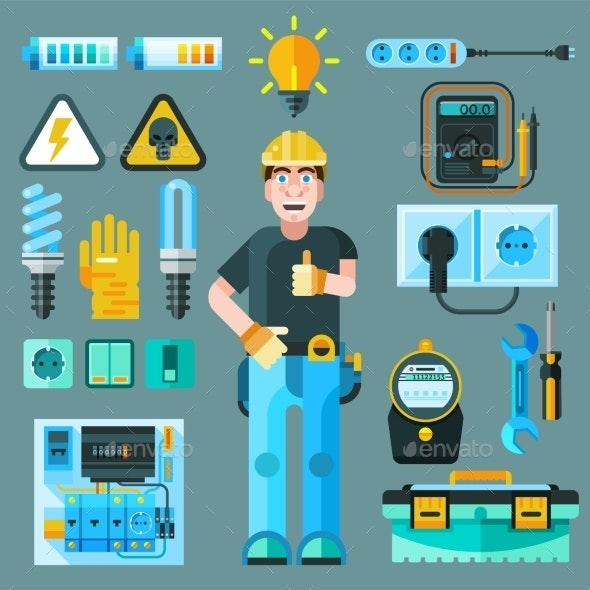 Electrician Icons Set - Industries Business