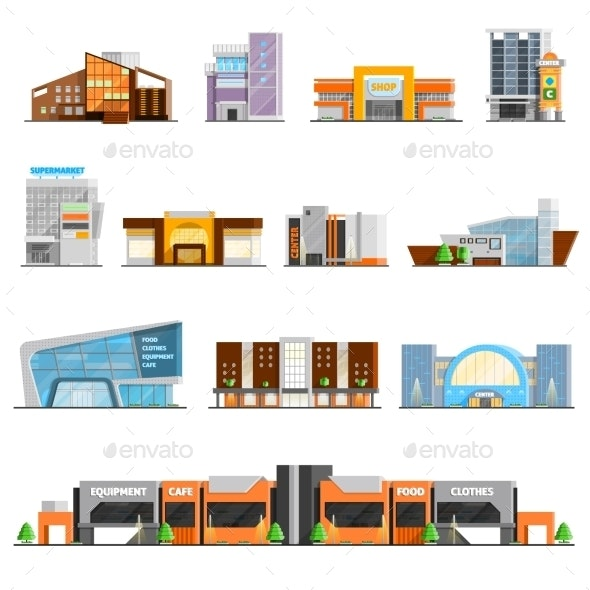 Shopping Mall Icons Set  - Commercial / Shopping Conceptual