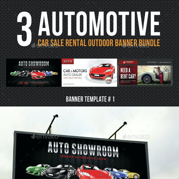3 Automotive Car Sale Rental Outdoor Banner Bundle