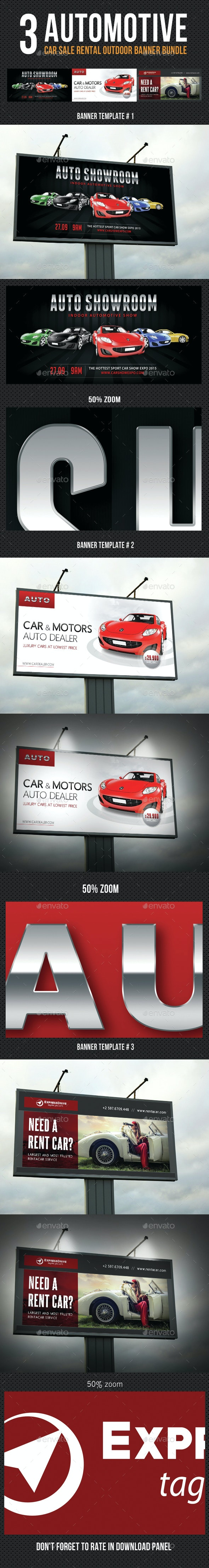 3 Automotive Car Sale Rental Outdoor Banner Bundle - Signage Print Templates