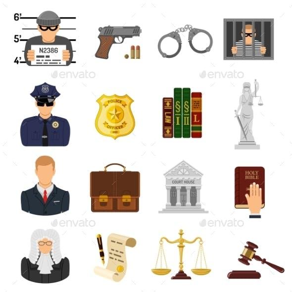Crime and Punishment Flat Icons