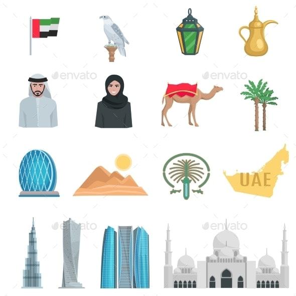 United Arab Emirates Flat Icons  - Travel Conceptual