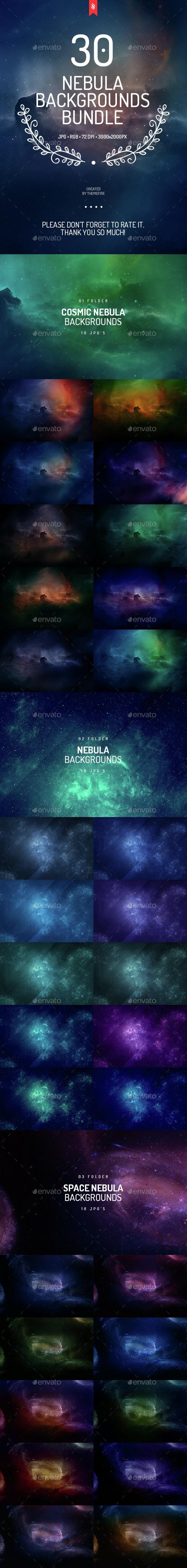 30 Space Nebula Backgrounds Bundle - Abstract Backgrounds