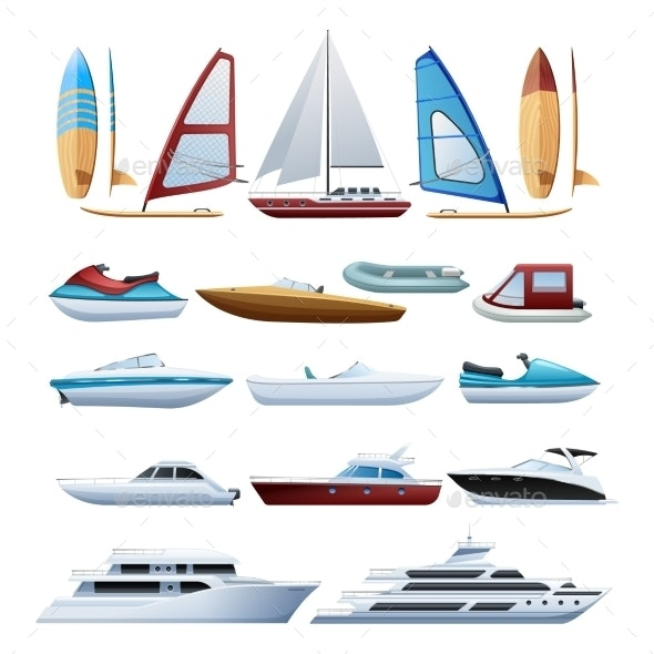 Boats  And Windsurfer Flat Icons Set  - Man-made objects Objects