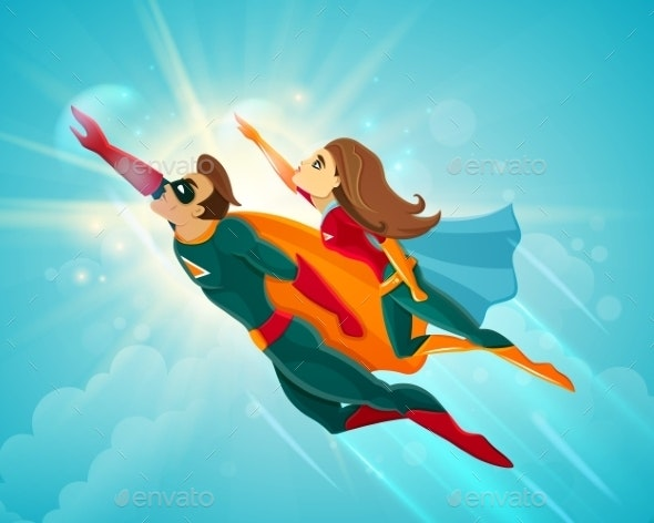 Super Heroes Couple Flying - People Characters
