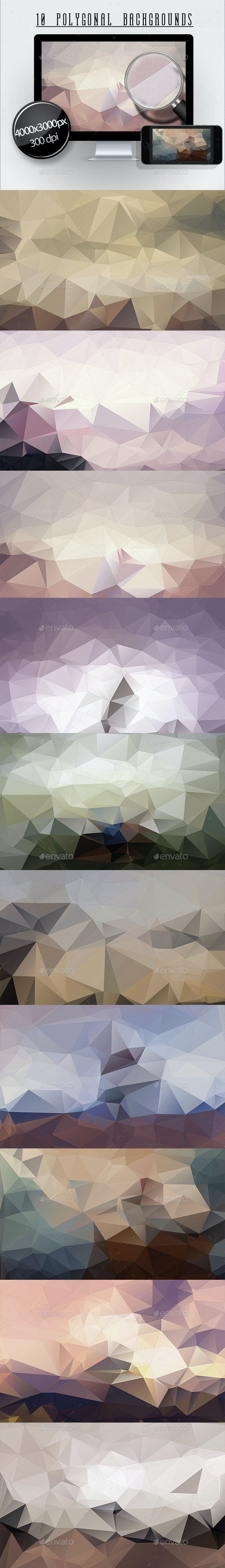 10 Polygonal Backgrounds - Abstract Backgrounds