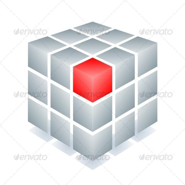 Cube with one red block - Decorative Symbols Decorative