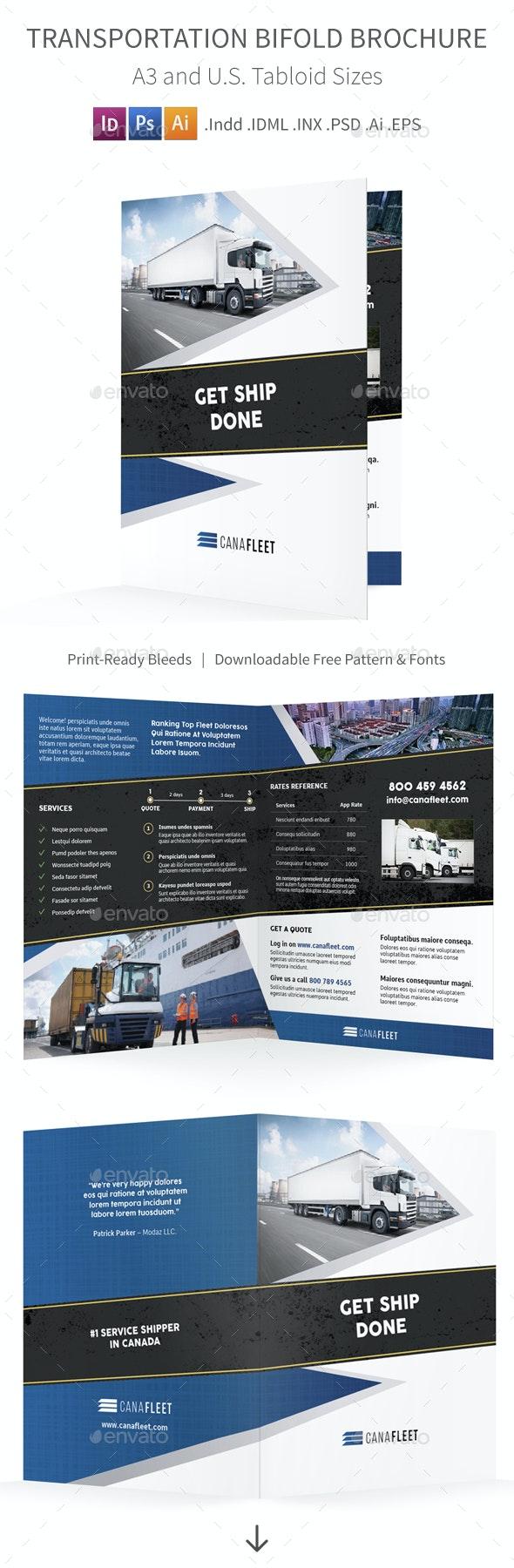 Transportation Company Bifold / Halffold Brochure - Informational Brochures