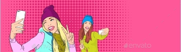 Two Girls Taking Selfie with Smart Phones - People Characters