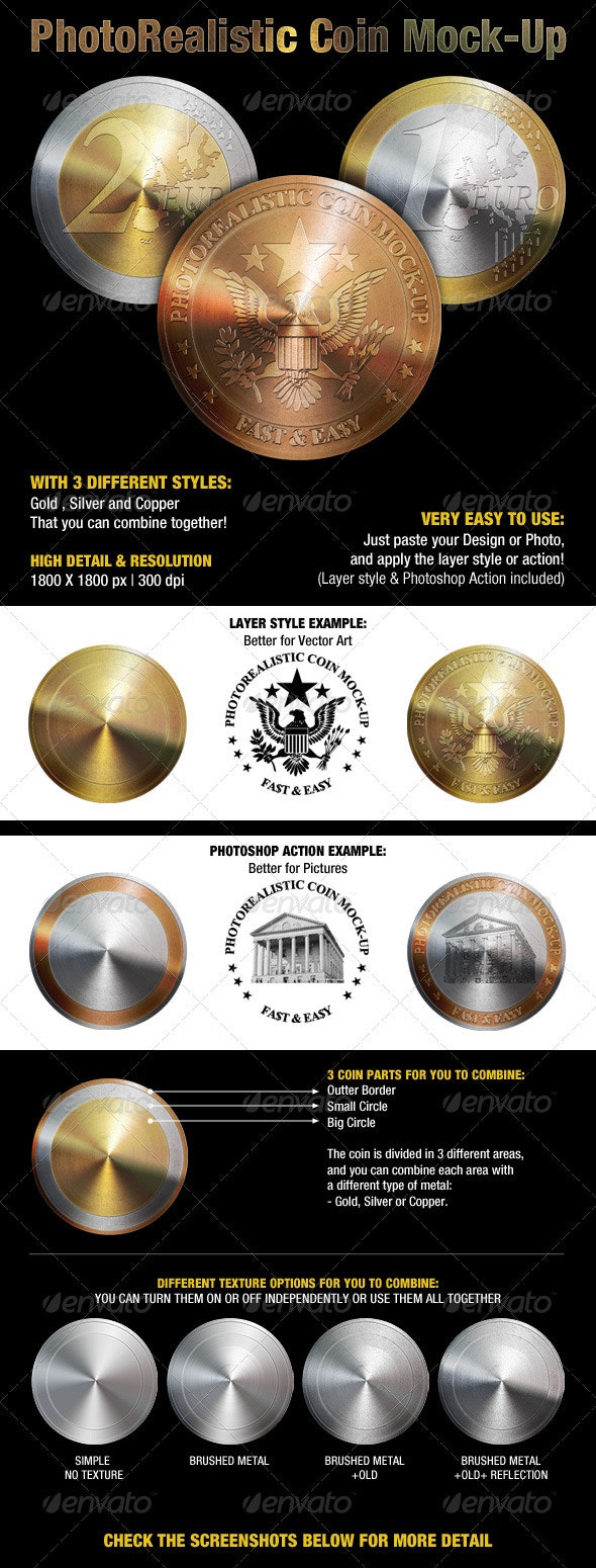Photorealistic Coin Mock-Up - Miscellaneous Product Mock-Ups