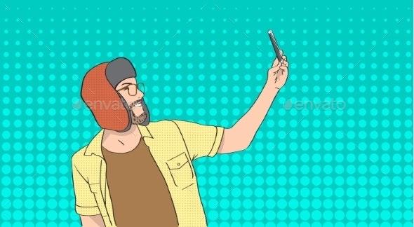 Man Wears Winter Hat Taking Selfie - People Characters