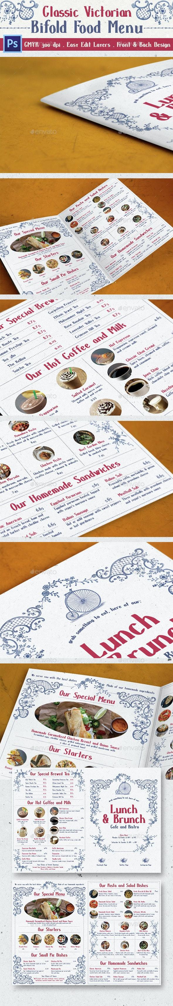 Classic Victorian Bifold Menu - Food Menus Print Templates