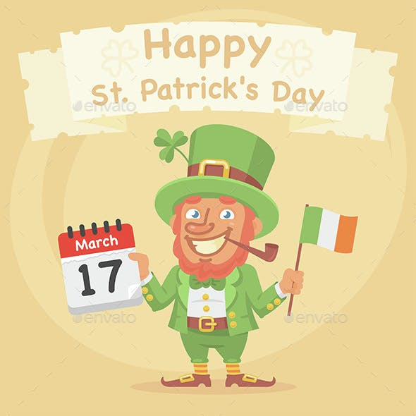 St. Patrick Holds Calendar and Flag