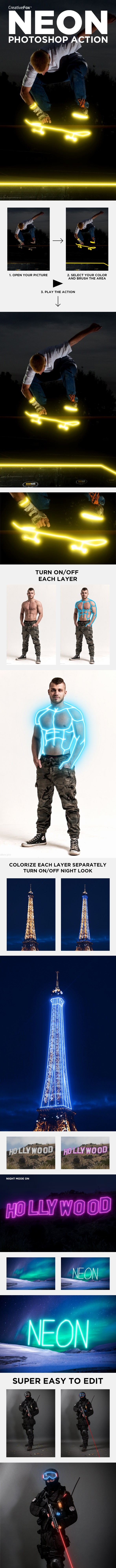 Neon Photoshop Action - Neon Creator Action - Photo Effects Actions