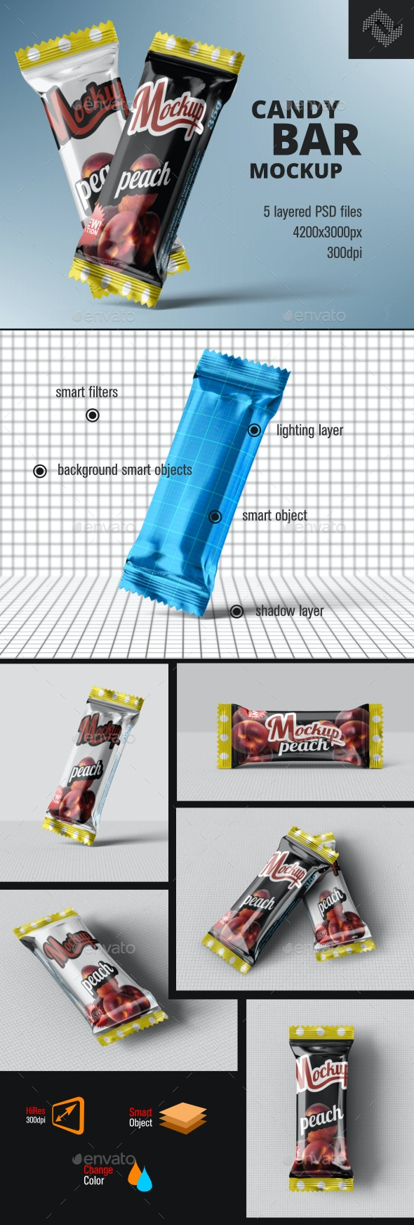 Candy Chocolate Bar Mockup - Food and Drink Packaging
