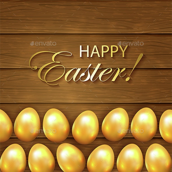 Set of Golden Easter Eggs on Wooden Background - Miscellaneous Seasons/Holidays