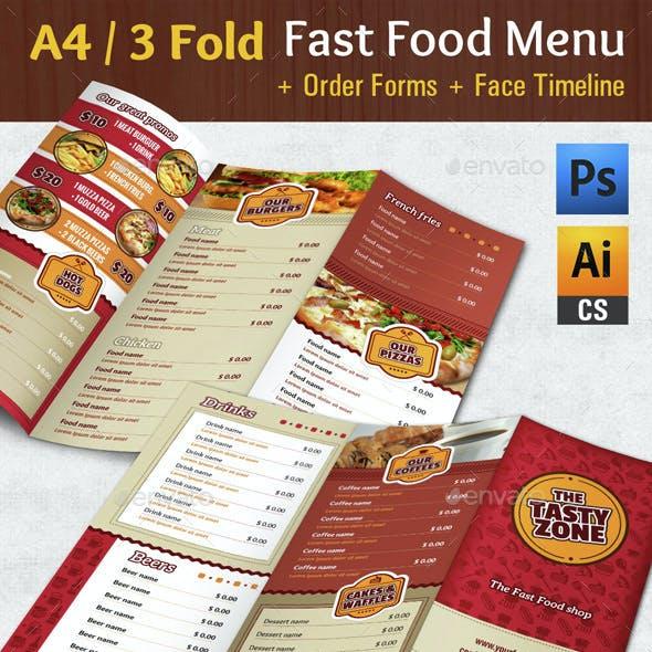 3 Fold Fast Food Menu + Timeline + Order Forms