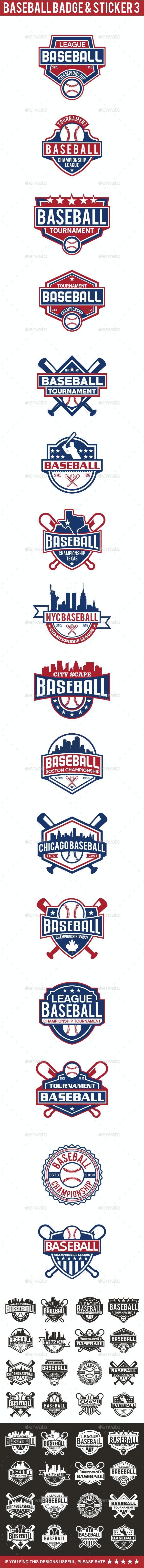 Baseball Badge & Stickers 3 - Badges & Stickers Web Elements