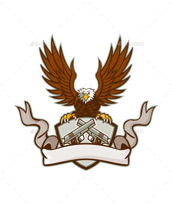 Bald Eagle Crossed 45 Caliber Pistols Shield Retro - Animals Characters